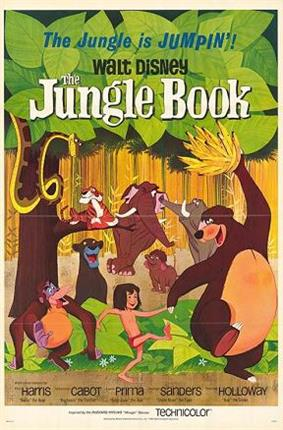 Drawing of a jungle. A boy wearing a red loincloth walks holding hands with a bear which holds a bunch of bananas above his head, while an orangutan follows them and a black panther watches them from behind a bush. A tiger lies on the branch of a tree while a snake comes from the leaves above. In the background, three elephants. At the top of the image, the tagline