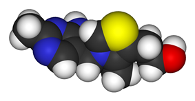 Spacefill model of thiamine of the cation in thiamine