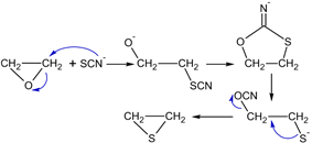 mechanism synthesis thiiranes of ethylene oxide under the influence of thiocyanate ion