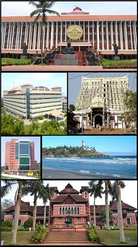 From top clockwise: Kerala Legislative Assembly, Padmanabha Swamy Temple, Kovalam Beach, Napier Museum, Kerala Institute of Medical Sciences, Bhavani building in Technopark