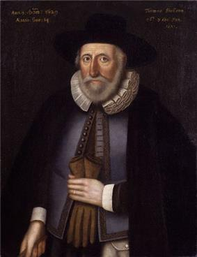 An oil portrait of Thomas Hobson, in the National Portrait Gallery, London. He looks straight to the artist and is dressed in typical Tudor dress, with a heavy coat, a ruff, and tie tails