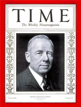 Thomas Lamont on the cover of Time Magazine (November 11, 1929)