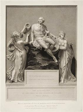 Engraving of a sculpture of a man seated on a rock, surrounded by two bare-breasted nymphs. One is playing a harp and placing a crown of laurels on his head.