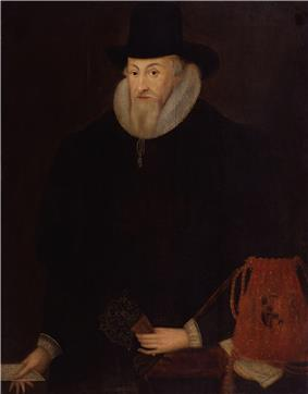 An elderly gentleman dressed in a black coat and hat, with a white ruff around his neck. He has a pointed, grey beard, and is holding a red bag with a coat of arms on it.