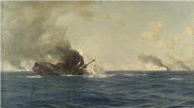 A large dark gray warship burning furiously rolls over