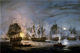 Four ships flying the British flag advance in the foreground towards an anchored battle line in which the only clear detail is a huge burning ship.