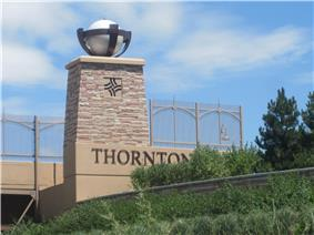 Thornton welcome sign on Interstate 25