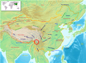 The Three Parallel Rivers of Yunnan Protected area indicated by the red circle