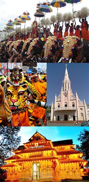 Clockwise from top: Thrissur Pooram, Our Lady of Lourdes Syro-Malabar Catholic Metropolitan Cathedral, Puli Kali, Vadakkunnathan Temple