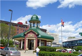 View of Thunder Bay Tourist Pagoda and surrounding buildings