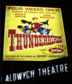 A sign for a stage play at Aldwych Theatre reads