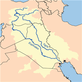 Map indicating the Tigris