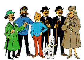 Tintin is standing in a group amongst the main characters of the comics series.