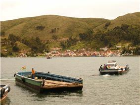 Strait of Tiquina, Lake Titicaca, Bolivia