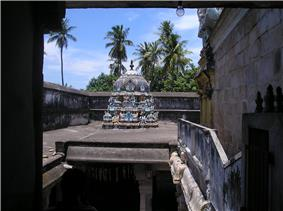 A shrine in the second precinct of the temple as seen from the hillock