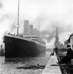Titanic at Southampton docks, prior to departure seen from the bow