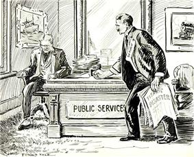A 1912 cartoon, showing the public demanding safety improvements from shipping companies