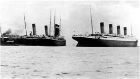 Titanic (right) after the near-collision with New York (left, with Oceanic)