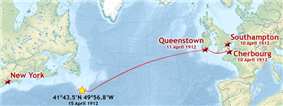 The route of Titanic's maiden voyage, with the coordinates of her sinking