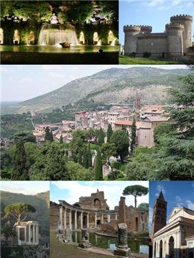 Main attractions of Tivoli, Top left: View of big fountain in Villa d'Este; Top right: Rocca Pia Castle; Center: City panorama; Bottom left: Temple of Tiburtine Sibyl; Bottom middle: The Maritime Theater in Hadrian's Villa; Bottom right: Cathedral