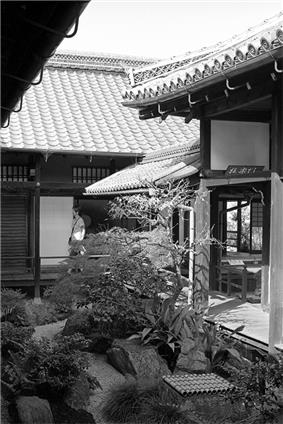 A small internal garden surrounded by wooden buildings with verandass.