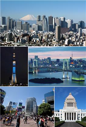 Clockwise from top: Nishi-Shinjuku, Rainbow Bridge, National Diet Building, Shibuya, Tokyo Skytree