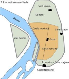Simple, drawn map of old Toulouse