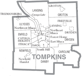 Towns, cities, villages, and census divisions of Tompkins County