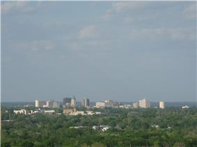 Downtown Topeka as seen from Burnett's Mound in May 2008.