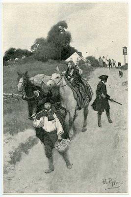 Painting shows a woman on horseback, a man with a rifle and a boy fleeing town. In the distance, people are throwing rocks at them.