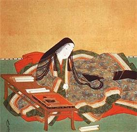 Painting of a woman poet in a kimono at a desk, writing