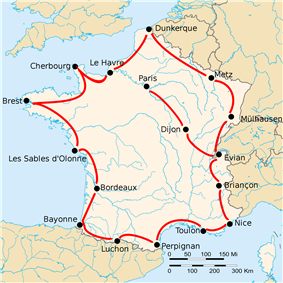 Map of France with 17 cities shown, connected by red lines. Most of the shown cities are close to the border, except the ones labeled