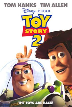 Film poster showing Woody the Cowboy making a V sign with his fingers behind Buzz Lightyear's head. Above them is the film's title below the names of Tom Hanks and Tim Allen. Below is shown