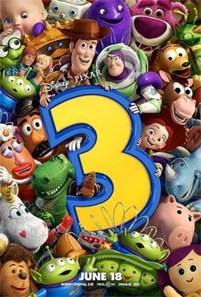 All of the toys packed close together, holding up a large numeral 3, with Buzz, who is putting a friendly arm around Woody's shoulder, and Woody holding the top of the 3.