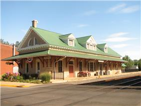 Restored train depot in Orange, now used as a visitors center