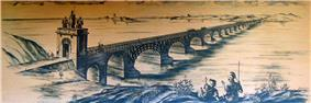 An artist's interpretation of Trajan's Bridge depicted upon a light brown surface, with bridge stretching from near shore of river on the bottom left and the far shore in the top right.