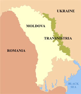 Map showing Transnistria in Moldova
