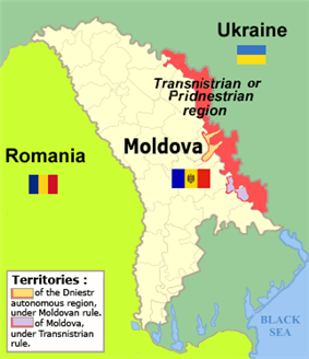 Map of Moldova highlighting Transnistria