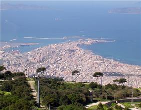 Trapani seen from Erice. The islands of Favignana (left) and Levanzo (right) can be seen in the background.