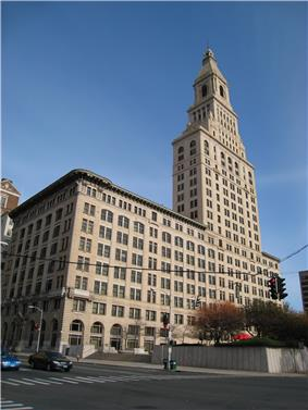 The Travelers Tower is a distinctive landmark in downtown Hartford.
