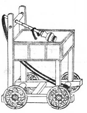 An ink on paper diagram of a trebuchet. A long arm with a spherical cap rests on top of a large square platform. The square platform is supported by four plain cut square beams, which connect to an open undercarriage. Rope hangs between the end of the pole that does not have the cap to the inside of the undercarriage, as far away from the start of the rope as possible. The assembly moves on four wheels attached to the sides of the undercarriage.