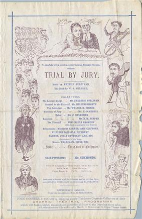 A page of the theatre programme showing, in a box at the centre, the cast and credits of Trial by Jury. It is bordered with illustrations of the action, with, at the top, Angelina embracing the Judge with a manipulative expression, while he appears to be in a quandary.