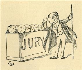 Engraving of a quaint drawing showing the little round faces of jurymen protruding from a box with the word