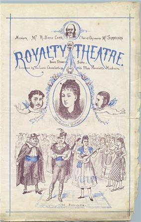 A programme cover for the Royalty Theatre printed in black and blue with engraved illustrations and decorations. There is a large illustration of the main attraction, La Périchole, but caricatures of Gilbert and Sullivan as cherubs frame a portrait of Selina Dolaro.