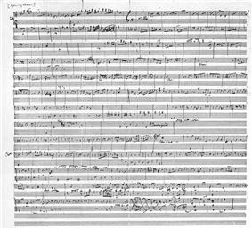 A hand-written musical score of with ten lines of treble and bass