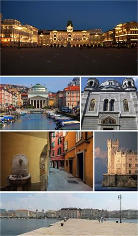 A collage of Trieste showing the Piazza Unità d'Italia, the Canal Grande (Grand Canal), the Serbian Orthodox church, a narrow street of the Old City, the Castello Miramare and the city seafront.