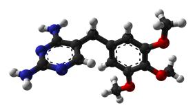 Ball-and-stick model of the trimethoprim molecule