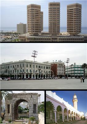 Top:: That El Emad Towers; Middle: Martyrs' Square; Bottom left: Marcus Aurelius Arch; Bottom right: Souq al-Mushir – Tripoli Medina