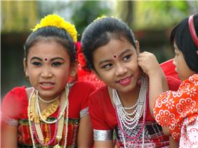 Tripuri children preparing for a dance performance