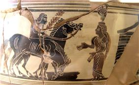 A picture on several pottery fragments. A youth rides one of two horses. He talks to a woman with a vase on her head. Behind the woman is some sort of structure. One of the horses is drinking from a bowl.